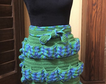MADE TO ORDER! Ruffled Farmhouse Egg Apron; Crochet Homestead Apron; Gather/Harvest Hen Eggs; One Size; Great Colors; One Week Timeline!