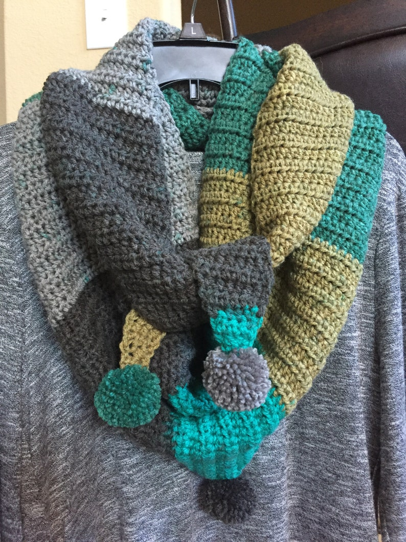 HANDCRAFTED Crochet Kerchief-Style Scarf with Pom-Poms, Caron Cakes Yarn,  Gray/Teal/Wasabi-Olive, Ready To Ship FREE!