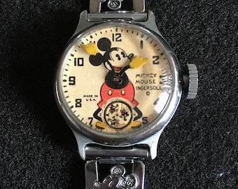 394de5e852e7 RARE Vintage Antique Collectible 1930 s Micky Mouse Ingersol Wind Watch  made in the USA Vintagegirlbybelinda