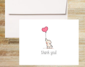 Baby Elephant Red Balloon Note Cards | Baby Shower Thank You Cards | Set of 10 | PRINTED