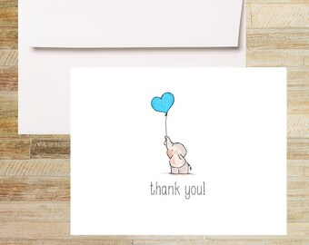 Baby Elephant Blue Balloon Note Cards   Baby Shower Thank You Cards   Set of 10   PRINTED
