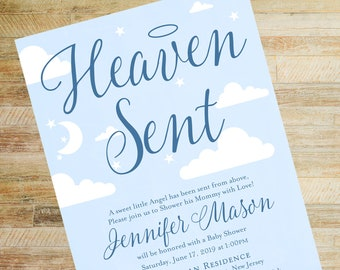 Heaven Sent Navy Baby Shower Invitation / Printed Halo Baby Shower Invites / Baby Book Poem Card / Diaper Raffle Card / Baby Boy Shower