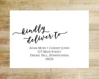 Envelope Addressing Service for Invitations | Thank You Card Envelope Printing | Digital Calligraphy | Kindly Deliver To Layout | Set of 10