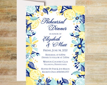 Rehearsal Dinner Invitations | Citrus Floral Wedding Rehearsal | Set of 10 | Grooms Dinner Invites | PRINTED