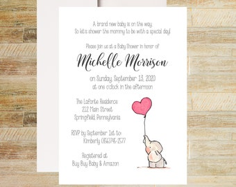 Baby Elephant Shower Invitations | Red Balloon Invites | Books for Baby Card | Diaper Raffle Ticket | Set of 10 | PRINTED