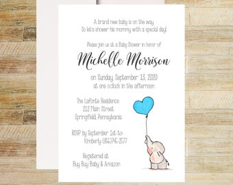 Baby Elephant Shower Invitations | Blue Balloon Invites | Books for Baby Card | Diaper Raffle Ticket | Set of 10 | PRINTED