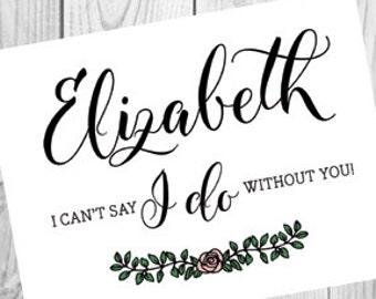 Will You Be My Bridesmaid Card | Bridesmaid Proposal Card | Be My Bridesmaid | PERSONALIZED