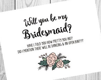 Will You Be My Bridesmaid Funny Card | Open Bar Bridesmaid Proposal Card | Fun Bridesmaid Request Card | Funny Card for Bridesmaid