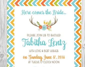 Floral Antlers Boho Bridal Shower Invitation Set | Set of 10 | PRINTED