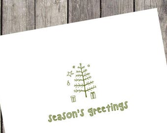 Tiny Tree Holiday Cards | Set of 10 | Holiday Greeting Cards | Seasons Greetings | Merry Christmas | Happy Holidays | PRINTED