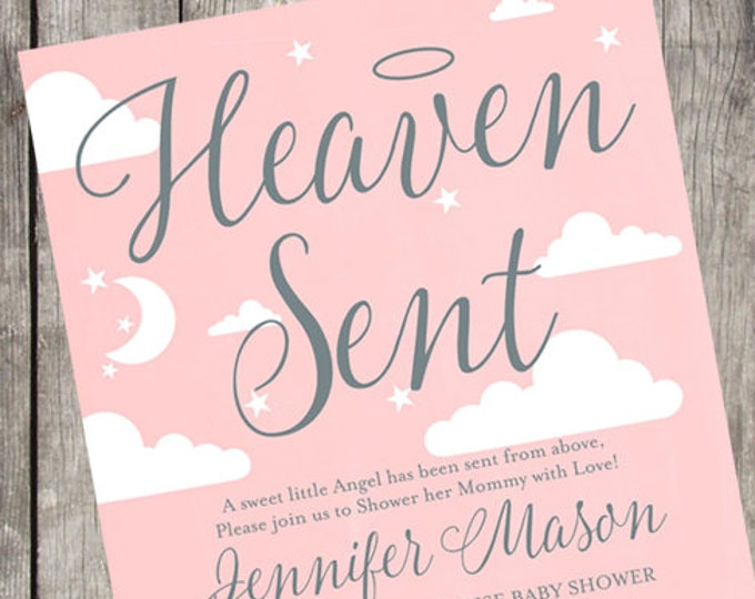 Heaven Sent Baby Shower Invitation   Blush and Silver   PRINTABLE
