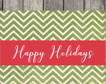 Green Chevron Holiday Cards, Set of 10, Personalized Greeting Cards, Season's Greetings, Merry Christmas, Christmas Cards, Happy Holidays