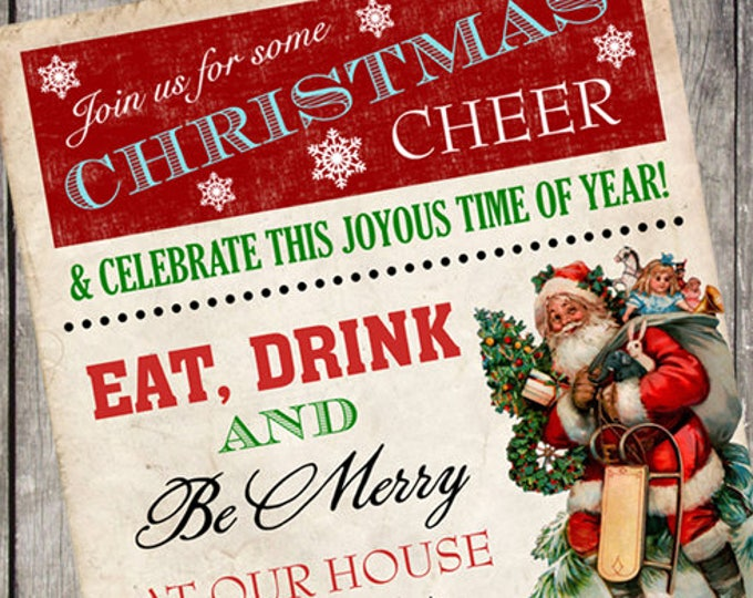 Vintage Santa Holiday Party Invitation | Eat Drink and Be Merry Christmas Party Invite | PRINTABLE FILE