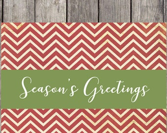 Red Chevron Holiday Cards, Set of 10, Personalized Greeting Cards, Seasons Greetings, Merry Christmas, Christmas Cards, Happy Holidays