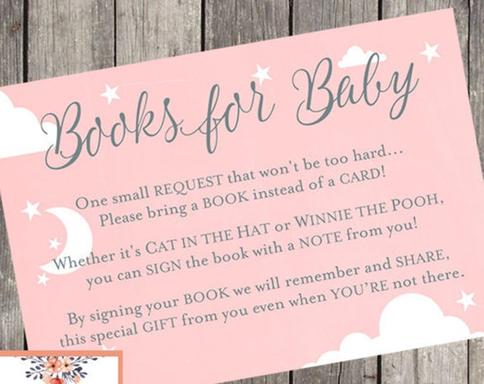 Book for Baby Pink and Silver Poem Card   INSTANT DOWNLOAD   Baby Shower Printable