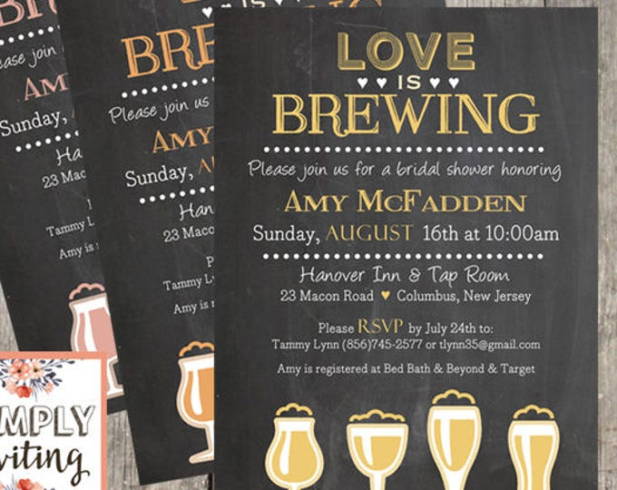 Love is Brewing Bridal Shower Invitation | Set of 10 | Brewery Wedding Shower Invites | PRINTED