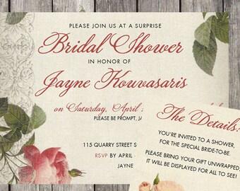 Vintage Roses Bridal Shower Invitation & Details Card | PRINTED