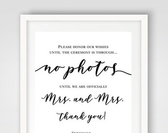 No Photos Wedding Sign | Instant Download | Mrs & Mrs Wedding Ceremony Sign | Printable Wedding Sign | Ceremony Decoration | No Photos Sign