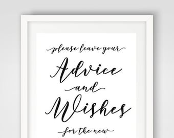 Wedding Wishes Sign | Printed Wedding Sign | Advice and Wishes Sign | Printable Wedding Reception Decor | New Mr. and Mrs. Wishes Sign