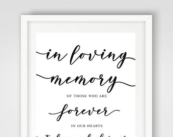 In Loving Memory Wedding Sign | 8 x 10 | Wedding Ceremony Sign | PRINTED or PRINTABLE FILE