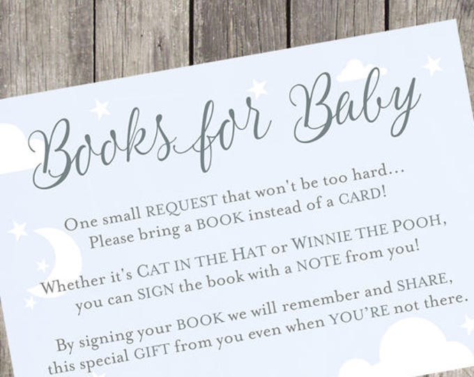 Baby Shower Book Request Card   INSTANT DOWNLOAD   Baby Boy Shower Printable