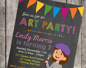 Art Party Girl's Birthday Invitations | Set of 10 | PRINTED