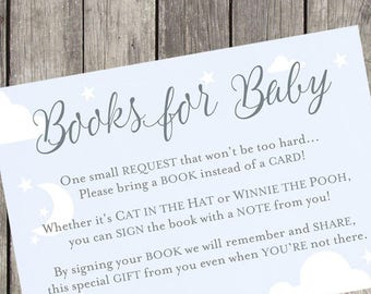 Books for Baby Silver and Sky Baby Shower Insert Cards | Set of 10 | PRINTED