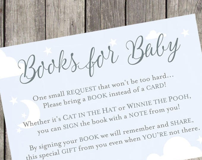 Books for Baby Silver and Sky Baby Shower Insert Cards   Set of 10   PRINTED