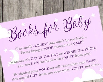 Books for Baby Purple Baby Shower Insert Card | Set of 10 | PRINTED