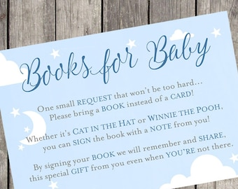 Books for Baby Navy Baby Shower Insert Card | Set of 10 | PRINTED