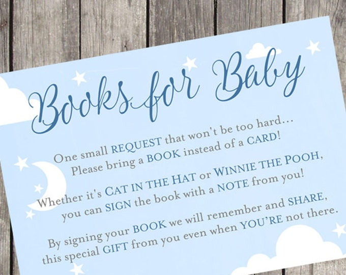 Books for Baby Navy Baby Shower Insert Card   Set of 10   PRINTED