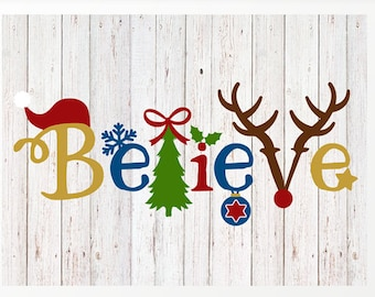 Believe - Christmas Print | 16 x 20 | DIY Holiday Decoration| Holiday Download | Christmas Printable Wall Print | Instant Download