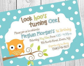 Owl and Dots Birthday Invitation | PRINTABLE FILE