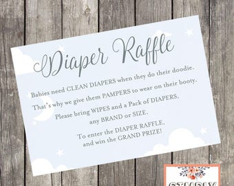 Baby Shower Diaper Raffle Card   INSTANT DOWNLOAD   Baby Boy Sky and Silver Shower Printable
