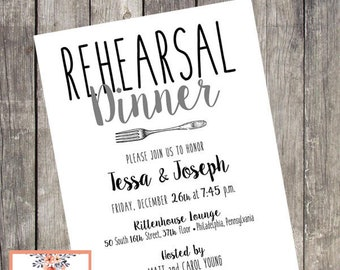 Simplicity Rehearsal Dinner Invitation |  Set of 10 | Wedding Rehearsal Dinner Invitations | Grooms Dinner Rehearsal Invites | PRINTED