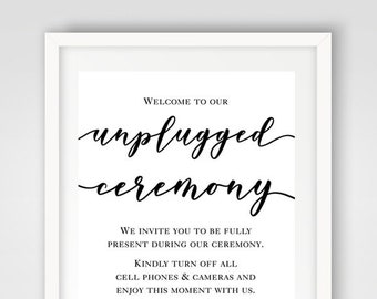 Unplugged Ceremony Wedding Sign | 8 x 10 | PRINTED or PRINTABLE FILE