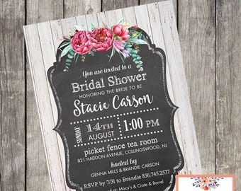 Rustic Floral Bridal Shower Invitation | Set of 10 | Bridal Shower Recipe Card | Wood and Chalkboard Invites | PRINTED