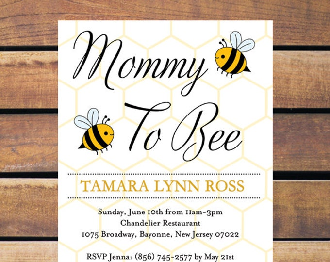 Mommy to Bee Baby Shower Invitations   Baby Bee Invitations   Bee Baby Shower Diaper Raffle Card   Bumblebee Baby Book Card   PRINTED