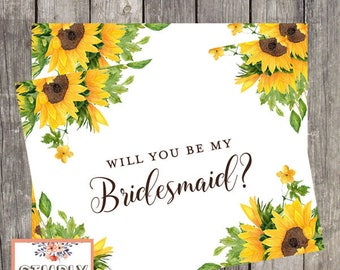 Bridesmaid Proposal Card / Will You Be My Bridesmaid Card / Card For Bridesmaid / Bridesmaid Request Card / Sunflower Bridesmaid Card