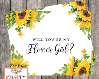 Will You Be My Flower Girl Card | Sunflower Wedding Flower Girl Proposal Card | PRINTED
