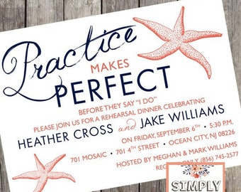 Practice Makes Perfect Starfish Rehearsal Dinner Invitation | Set of 10 | Beach Wedding Rehearsal Invites | PRINTED