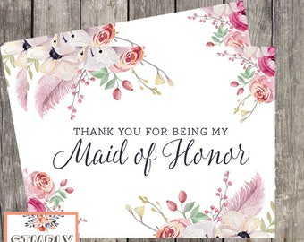 Maid of Honor Thank You Card | Floral Watercolor Wedding Thank You | Thank You for Being My Maid of Honor | PRINTED