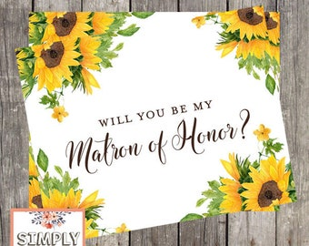 Will You Be My Matron of Honor Card Card | Sunflower Wedding Matron of Honor Proposal Card | PRINTED