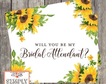 Will You be My Bridal Attendant Card | Sunflower Wedding Attendant Ask Card | Bridal Attendant Proposal | PRINTED