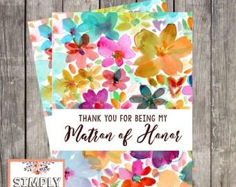 Matron of Honor Wedding Thank You Card   Fun Floral Wedding Card for Matron of Honor   PRINTED