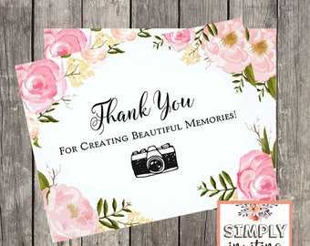 Wedding Photographer Thank You Card | Pink Floral Wedding Vendor Thank You | Rustic Wedding Photographer Card | PRINTED