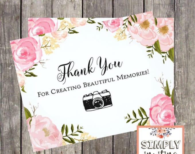 Thank You Card for Wedding Photographer | Wedding Vendor Thank You Card | PRINTED