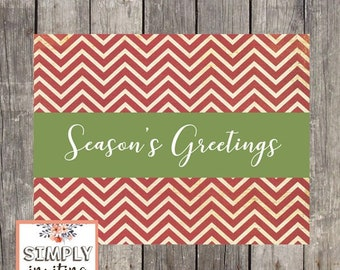 Red Chevron Holiday Greeting Cards | Set of 10 | Personalized Cards | Seasons Greetings | Merry Christmas | Happy Holidays | PRINTED