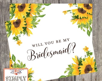 Will You Be My Bridesmaid Card | Sunflower Wedding Bridesmaid Proposal Card | PRINTED