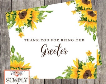Thank You Card for Wedding Greeter | Sunflower Wedding | Bridal Party Wedding Thank You Card | PRINTED